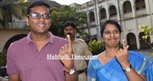 DC DEEPA CHOLAN CASTS HER VOTE IN DHARWAD