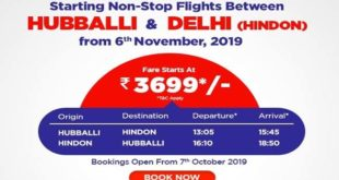 TICKET BOOKING BEGINS FOR HUBBALLI-DELHI DIRECT FLIGHTS