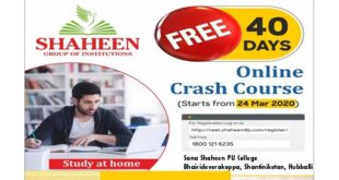 SANA-SHAHEEN PU COLLEGE OFFERS FREE ONLINE NEET CLASSES DURING COVID-19 HOLIDAYS