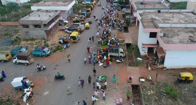 Photo of DRONE CAMERA CAPTURES IMAGES OF HUBBALLI APMC TODAY